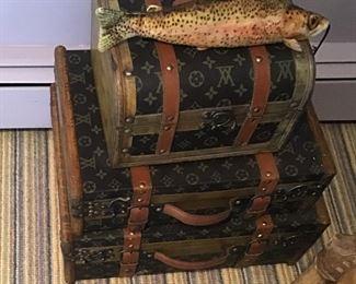 Faux Louis Vuitton decorative trunks