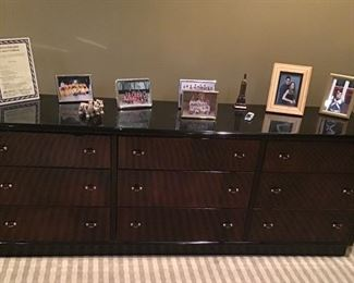 Modern black lacquer and wood bedroom set