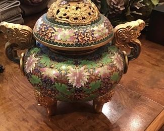 Champleve enamel Asian urn