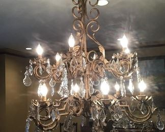Wrought iron and crystal chandelier