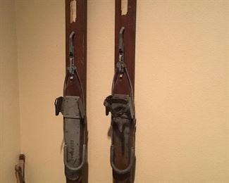 Antique wood skis