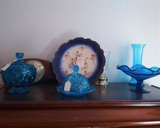 Fenton and Vintage blue glass