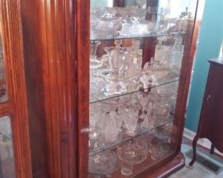Large Display Cabinet Full of Vintage and Antique Crystal
