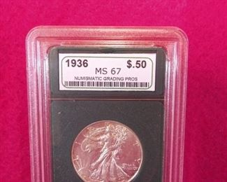 GRADED 1936 WALKING HALF DOLLAR