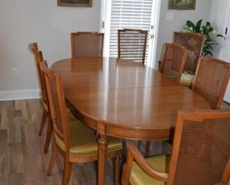 """Solid Wood Dining Table with (2) Armchairs and (6 ) Side Chairs Cane Back. 42"""" W X 62"""" Long Plus (2) 18"""" Leafs Built with Solid Wood Watertown Slide"""