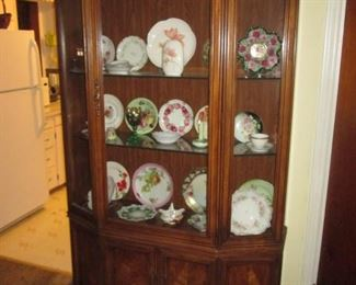 Oak Hutch with Collectable Glass & China