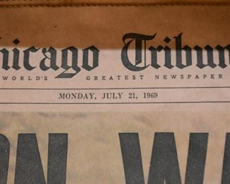 Vintage Chicago Tribune Newspaper - Moon Walk, 1969
