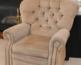 Tufted Back Recliner / Lounge Chair with Nailhead Trim