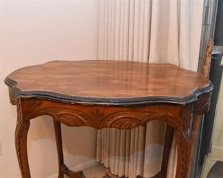 Vintage Parlor Table with Carved Details