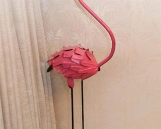 Pink Flamingo Metal Garden Sculpture