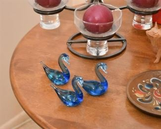 Blue Glass Swan Miniatures