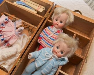 Vintage Dolls with Case & Clothing