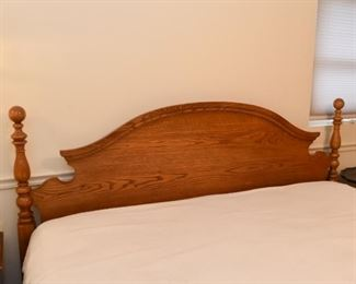 King Size Bed - Oak Headboard, Mattress & Boxspring