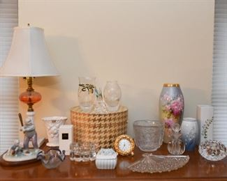 Home Decor - Glass Table Lamp, Vases, Trinket Boxes