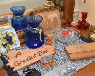 Glassware, Vases & Dishes, Trinket Boxes, Wooden Signs, Pottery , Etc.