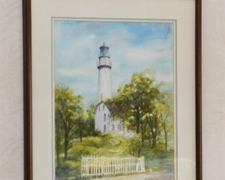 Framed Watercolor Painting - Lighthouse - Signed