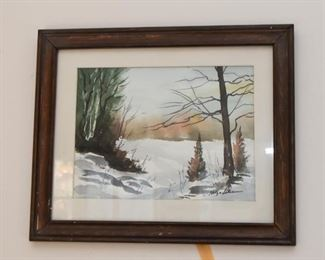 Framed Watercolor Painting, Signed