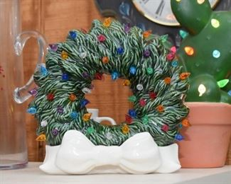 Ceramic Light Up Christmas Wreath