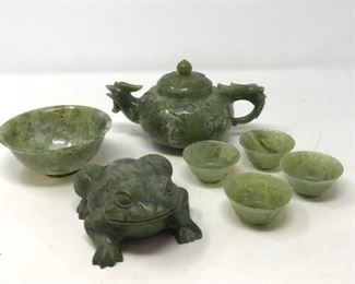 Jade Teapot Bowl & Cups and Stone Frog https://ctbids.com/#!/description/share/267446