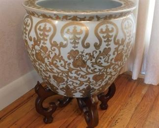 Asian Fish Bowl Planter With Stand Lot #: 13