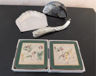 Silver Plated Pieces And Coasters Lot #: 39