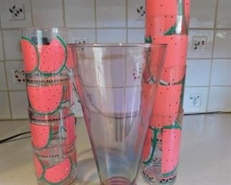 Pink Vase And Plastic Watermelon Cups Lot #: 42