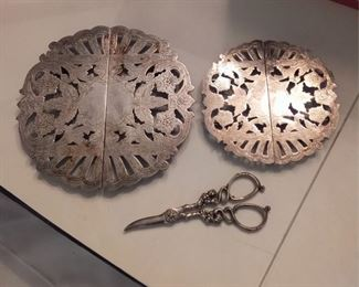Sterling Grape Shears And 2 Silver Plated Trivets Lot #: 55
