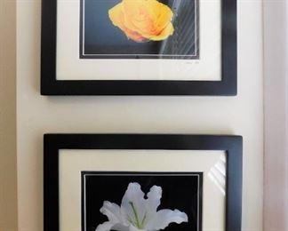 Two Framed Flower Artworks Signed TMW Lot #: 60