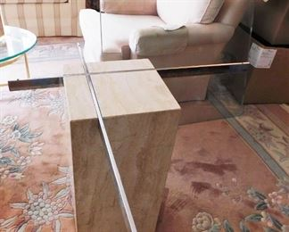 Travertine And Glass Top Table Lot #: 89