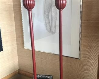 """Two 1970's Asian candlesticks 33""""high"""