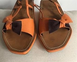 Miu Miu Leather sandals Oriental Zori style Sz 37