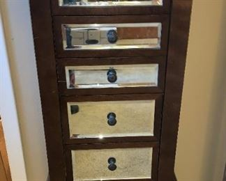 Trendy Mirrored Front Jewelry Armoire