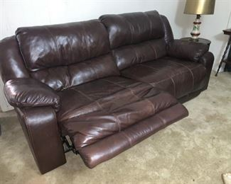 Nice LEATHER Sofa with Two Recliners