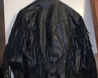 Nice Leather Coat with Fringe
