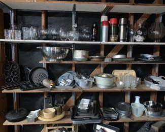 More Cookware and Dishes in the Garage!! Kitchen Full!