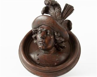 1: 19th c. Black Forest Carved Bust on Medallion