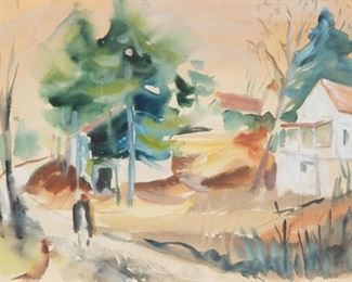 4: Werner Drewes 'Country Homes' 1935 Watercolor