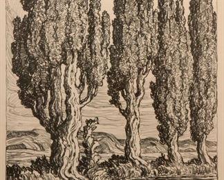 9: Birger Sandzen 'Utah Poplars' Pencil-Signed Lithograph
