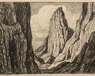 10: Birger Sandzen 'Sentinel Rock' Signed Lithograph