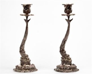 12: Buccellati Sterling Dauphin Candle Holders, Pair