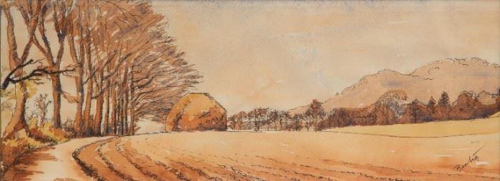 23: Thomas Hart Benton Original Ink & Watercolor Landscape