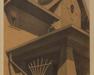 24: Grant Wood Pencil-Signed 'Main Street Mansion' Offset