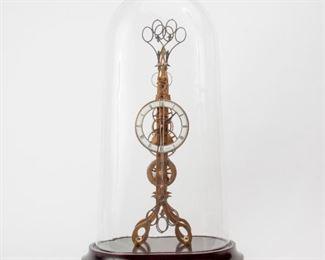 27: John Wilding 'Scissors' Skeleton Clock with Glass Dome