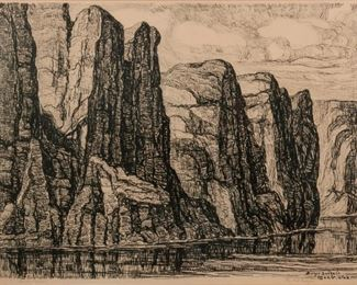 28: Birger Sandzen 'The Red Canyon' Signed Lithograph