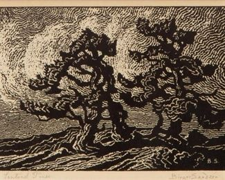 29: Birger Sandzen 'Sentinel Pines' Pencil-Signed Woodcut