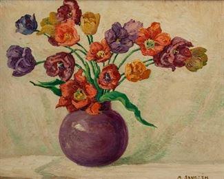 32: Original Margaret Sandzen Oil, 'Tulips'