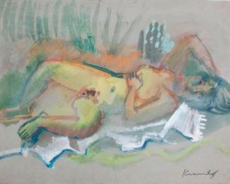 34: Bruno Krauskopf Goauche, Reclining Nude