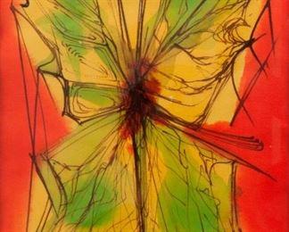 37: Arthur Kraft Watercolor, 'Clem's Butterfly'