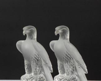 41: Lalique France Pair of 'Liberty' Eagles