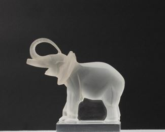 43: Lalique France Frosted Glass Elephant